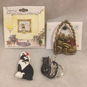 Group of Vintage Cat Pins Some Christmas